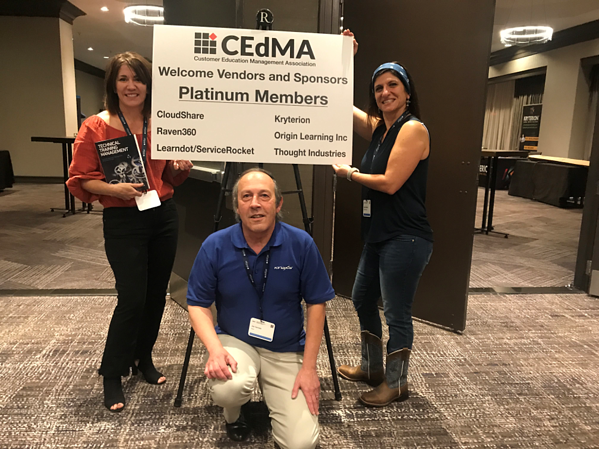 Bonnie Willoughby, Joe Cannata, and Kathleen Roche welcome CEdMA vendors and sponsors